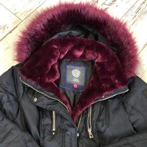 Midi length WARM coat w/ cranberry faux fur trim
